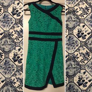 Nanette Lapore Size 0 Green  & Navy Lace Dress EUC